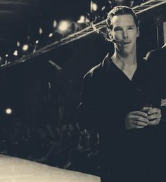 Is he drinking and smoking on a cat walk? Oh, why not? Life is short and Benedict Cumberbatch is hot!