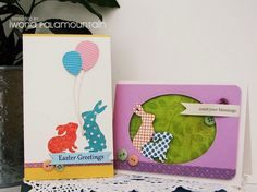 a pair of handmade Easter cards from Random Acts Of Creativity ... bunnies cut with Silhouette cut files from patterned papers ... simple and sweet card layouts ...