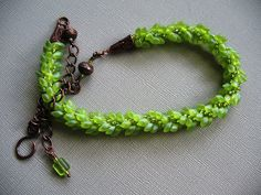 Lucious Lime and Copper Beaded Kumihimo Necklace by DonnaJs, $49.95