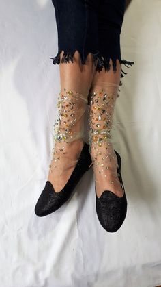 -Material:tulle - One Size (fits sizes 9 and 10 US womens shoe size) - 1 Pair - Hand wash in cold -Length: Medium ( Approximately -Pattern: Star water, lay flat to dry -Color:beige Sheer Socks, Lace Socks, Socks And Heels, Mesh Socks, Knit Socks, Best Socks For Running, Running Socks, Japanese Socks, Cute Tights