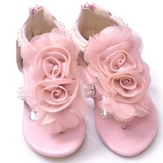 Gorgeous Pink Flower Pageant Girl Dress Up Thong Sandals Shoes SKU-133020