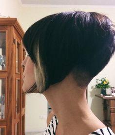 Stacked Bob Hairstyles, Short Bob Haircuts, Bun Hairstyles, Short Hair Cuts, Short Hair Styles, Short Pixie, Crop Haircut, Shaved Nape, Multicolored Hair