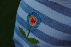Flower Hand Stitched Applique-- on Kids Stripe Short Sleeve Tee. $26.00, via Etsy.
