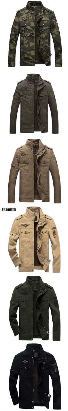 ABOORUN 2017 Mens Military Jackets US Air Force Spring Winter Cotton Jackets for Men Thick Velvet W001