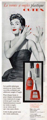 Publicité Vintage - Cutex - Vernis à Ongles 'Plastique' - 1957