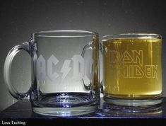 Sample Clear-Out Etched Glass Coffee Mug 3 Etched Wine Glasses, Etched Glass, Glass Etching, Glass Coffee Mugs, Beer Mugs, Champagne Flutes, Glass Candle Holders, Ceramic Mugs, Gifts For Husband
