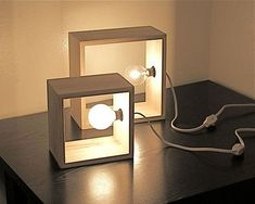 Simple Modern Box Lamp Minimalist Lighting Wood Wooden Square Wall Sconce Accent Table Lamp Library Shelf Lighting Modernist Style Lamps - even cooler with Edison bulbs Deco Luminaire, Diy Casa, Creation Deco, Wooden Lamp, Diy Holz, Minimalist Decor, Minimalist Bedroom, Minimalist Kitchen, Minimalist Interior