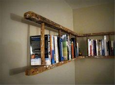 Old wooden ladder turned into book shelf. Old wooden ladder turned into book shelf. Old wooden ladder turned into book shelf. Home Diy, Bookshelves Diy, Sweet Home, Old Ladder, Interior, Ladder Bookshelf, Bookshelves, Home Projects, Home Decor