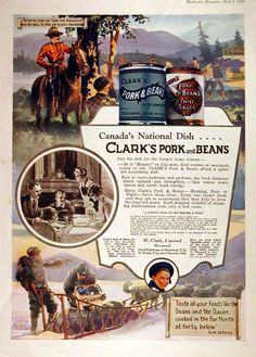 1929 Clarks Pork & Beans original vintage advertisement. Gorgeous illustration in vibrant color featuring a Royal Canadian Mounted Policeman on horseback.