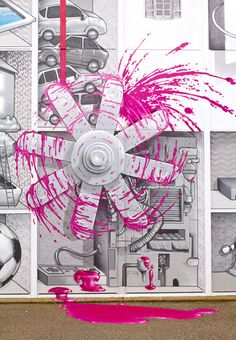 "Detail of ""Magenta - The never-ending game between the Astronaut and the Plastiline Rabbit"" by NEVERCREW, 2012"