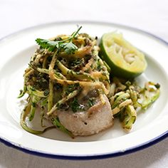 Tuna with Capers and Zucchini Julienne