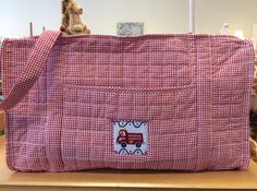 Quilted fire truck duffle by Little English The Children's Shop, Atlanta, GA