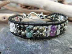 Comfort and Healing Gemstone Cuff Bracelet  by OffOnAWhimJewelry