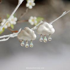 Blue topaz earrings, Rain earrings with three drops