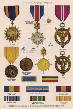 Decorations, medals ribbons authorized during World War II