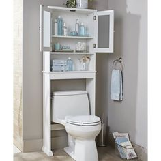 Better Homes & Gardens Over the Toilet Bathroom Space Saver, White Corner Storage, Storage Spaces, Small Bathroom Organization, Bathroom Ideas, Narrow Bathroom Storage, Bathroom Inspo, Bathroom Colors, Bathroom Vanities, Bathroom Inspiration