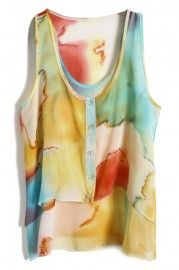Abstract Drawing Print Orange Vest perfect summer look