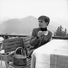 Audrey Hepburn at a resort inBürgenstock, Switzerland, June 1955. #audreyhepburn   Interested in donating to my Rare Audrey Hepburn book?  Link in bio.❤