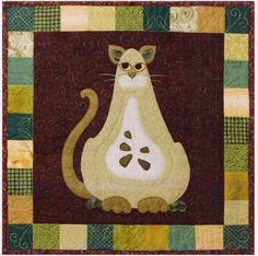 Boscat Applique Pattern, Block 2 of Helene Knott's Garden Patch Cats by Story Quilts.  Creative Quilt Kits.