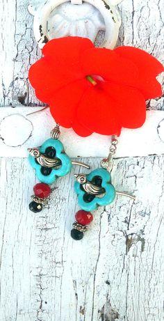Turquoise Flower Bird Earrings BiRd Jewelry by SecretStashBoutique
