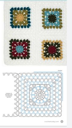 Crochet Granny, Crochet Stitches, Crochet Patterns, Flower Boxes, Doilies, Mandala, Ornament, Owl, Diagram