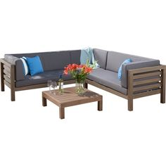 Whether you're outfitting a poolside ensemble or prepping for a summer of fun BBQ's and neighborhood gatherings, this essential outdoor seating group lets you entertain in effortless style. Featuring light brown, pretreated teak wood frames, this set makes a sturdy and neutral addition to your ensemble, while its foam-filled, water-reactant fabric cushions bring a lasting touch to your space. Add it to your back patio or poolside seating group to lounge with friends on a sunny summer ...