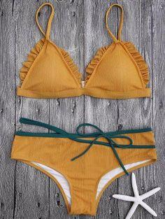 #Zaful - #Zaful Spaghetti Strap Ruffle Trim Bikini Set - AdoreWe.com