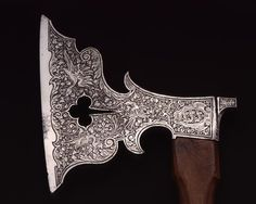 allbrotnarsramblings:  omgthatartifact:  Axe Germany, 1570-1580 Staatliche Kunstsammlungen Dresden  Ohhh, hell yes, today is fancy axe day. Might just be reblogging everything today.