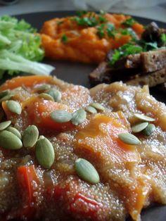 Semente: Amaranto com Vegetais, Acompanhado com Puré de Cenoura e Seitan