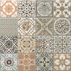 Provenzia Decorative Mix Pattern Porcelain Tile - 18 x 18 - 100340876 Bathroom Floor Tiles, Shower Floor, Tile Floor, Spanish Tile, Style Tile, Floor Decor, Pattern Mixing, Tile Patterns, Porcelain Tile