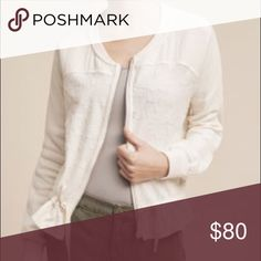 Anthropologie Bomber Jacket Super cute cream Anthropologie Bomber Jacket!! Silver zipper and pockets! Pinkish draw string at the bottom of jacket. Lace detailing. Anthropologie Jackets & Coats