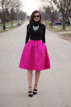 La Mariposa: Winter Festive: Magenta full Midi Skirt, Strappy Heels and Silver Tallulah Bib