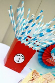 Dr. Seuss Thing 1 and Thing 2 1st Birthday Party for Twins - Twin - Red and Aqua Blue - Chevron & Polka Dots - decor ideas - decorations