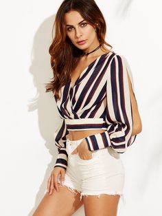 Striped split sleeve surplice front crop blouse -shein(sheinside) blusa corta a rayas Fashion 2017, Girl Fashion, Fashion Outfits, Womens Fashion, Short Outfits, Casual Outfits, Cute Outfits, Blouse Styles, Blouse Designs