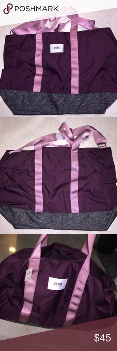 Stunning Purple, Pink, & Gray VS Pink Tote Bag Perfect for the gym, beach, travel, or as a school and lap top bag! This bag is huge; it has lots of storage room and zipper closure along the top and also has another zipper along the side. Color is a really pretty satin purple finish with pinkish-purple handles and a heather gray bottom. New with tags. PINK Victoria's Secret Bags Totes