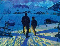 """thunderstruck9:  """"Waldemar Fink (Swiss, 1883-1948), Evening in Adelboden, 1913. Oil on board, 80 x 103 cm.  """""""