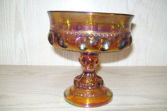 Amber Irridesent Candy Compote Dish Kings Crown Thumbprint