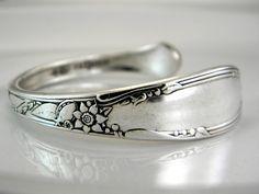 SILVER CUFF Spoon Bracelet Silverware by SilverSpoonCreations on Etsy (in my pattern - Chateau)