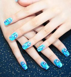 Blue Nail Art - Shades of Blue Nail polish and Manicure Nail Art Designs, Creative Nail Designs, Creative Nails, Acrylic Nail Designs, Nails Design, Colorful Nail Art, Trendy Nail Art, Cute Nail Art, Elegant Nail Art