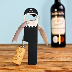 The sommelier's favourite 'Waiter's Friend' corkscrew - pull corks like a professional.  Designed like a peg-legged pirate with eye-patch, beard, hook hand, earring, black bandana and even a parrot, this characterful bar tool has an easy-open lever, foil-cutter, corkscrew and beer bottle opener.  Forget Blackbeard, 'Legless' is the hardest working pirate in the bar.