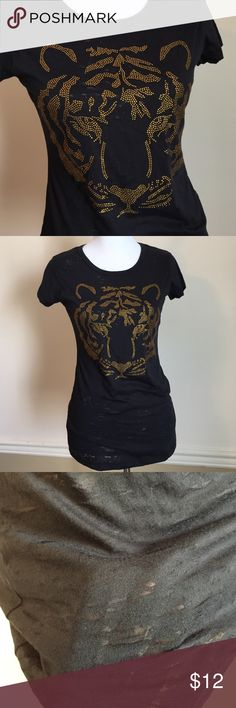 Bejeweled 🐯 Tiger Tee Brand new back semi-sheer black fitted tee with orange-gold rhinestone tiger design. Very soft fabric. 💕 Studio Y Tops Tees - Short Sleeve