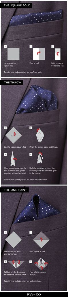 3 ways to fold pocket square #men #guide #style #pocket #style #affiliate
