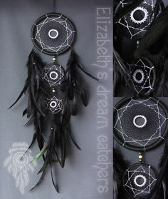 Dreamcatcher - is not just a fashion accessory for an ethnic interior. The Indians attributed this amulet to protect the ability of a sleeping person from evil spirits. This Indian mascot is a spiders web woven from deer lived and harsh thread. Cobweb stretched over a circle made of wicker. To receive the amulet hung a few feathers. Dreamcatcher decided to hang above the headboard. The size: Diameter: 15 cm - 5,9 inch 9 cm - 3.5 inch 7 cm - 2.7 inch Length: 61 cm - 24.0 inch Materials: -...
