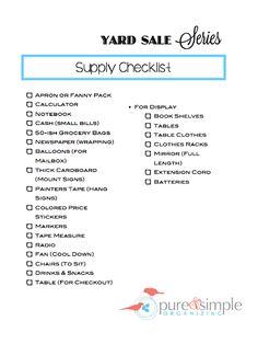 Yard Sale Supply Checklist | Free Printable   Pure & Simple Organizing
