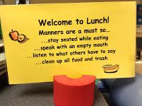 Great sign to have in the cafeteria for elementary kids. Cafeteria Behavior, Classroom Behavior, School Classroom, Classroom Management, Elementary School Counseling, School Social Work, School Counselor, Elementary Schools, Primary Education