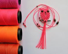 Neon Pink Macrame Owl Necklace by macraMe on Etsy, $10.00