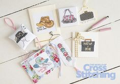 Fashionista cross stitch. Can't resist #fashion accessories! Quick to make and easy to stitch - make cards and gifts for anyone in your life, for any occasion. Find our Design Library of 30 stylish motifs, in The World of Cross Stitching new issue, 231 - lots of stitching options!