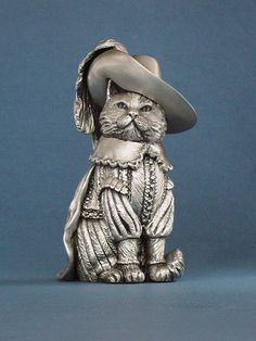 """Prince Rupert"" - Hand made pewter cat figurine"