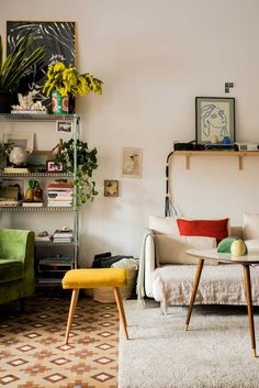 Tiled floors, plants and pops of colour.