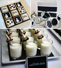 cookies and milk baby shower. I love the cow printed cookies!